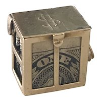 Emergency Money Vintage Charm 14K Gold Three-Dimensional circa 1950's