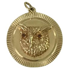 Big Jeweled OWL Vintage Charm 14k Gold circa 1960's Danker