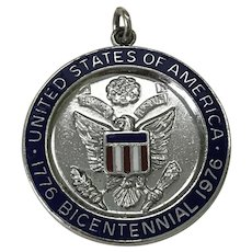United States Bicentennial Celebration Charm Colorful Enamel Sterling Silver