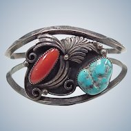 Navajo Crafted Cuff Bracelet Sterling Silver Red Coral & Turquoise by A Yazzie circa 1970's
