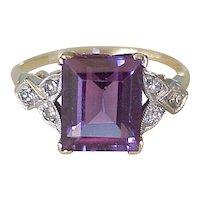 Vintage Ring 4.2 Carat Lab Alexandrite & Diamond 14k Two-Tone Gold
