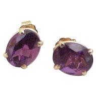 Amethyst Stud Earrings 14K Gold, 1.70 Carats Gem Weight