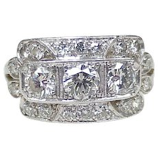 Art Deco Diamond Platinum Ring VVS to VS Quality 2.27 Carats Total
