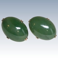 Jade Oval Stud Earrings 14K Gold circa 1950's