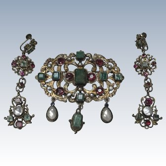 Victorian Austro Hungarian Long Dangle Earrings & Brooch
