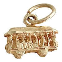 Tiny Cable Car / Trolley Vintage Charm 14K Gold Three-Dimensional