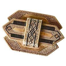 Victorian Era Brooch 14K Gold Taille d' Epergne Enamel