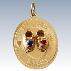 Jeweled Blessed Event Vintage Charm 14K Gold circa 1979