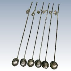 Mint Julep or Iced Tea Sipper Straw/Spoons With Oriental Charms 950 Sterling Silver