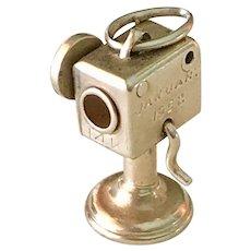 Movie Camera Moving Vintage Charm 14K Gold Three-Dimensional 1952