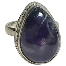 BIG Natural Amethyst Vintage Ring Sterling Silver Hand Crafted