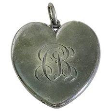 HUGE Edwardian Era Heart Locket Sterling Silver