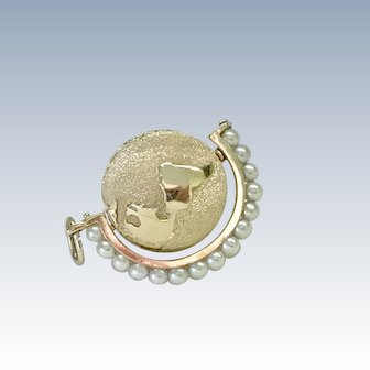Spinning Globe Jeweled Charm 14K Gold Cultured Pearl, Henry Dankner