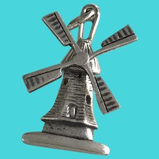 Moving 3-D Windmill Vintage Charm 835 Silver Travel Souvenir
