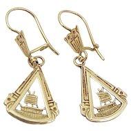 Aztec Dangle Earrings 14k Gold, Travel Souvenir, Handcrafted