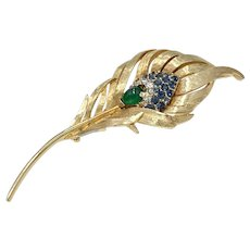Boucher Peacock Feather Vintage Brooch Gold-Tone Colorful Rhinestone