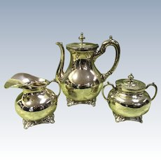 3 Piece Sterling Silver Tea Set, Teapot, Sugar & Creamer,  J. Torres