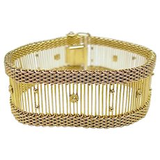 Vintage Wide Bracelet Bar & Mesh Design 36 GRAM 10k Yellow Gold