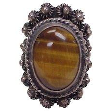 Impressive Poison Ring Sterling Silver Cannetille Filigree Tiger-Eye Gem
