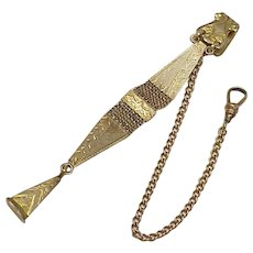 Edwardian Watch Fob & Chain With Safety Lock Gold Filled