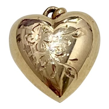 Fat Puffy Heart Vintage Charm 14K Gold Hand Engraved