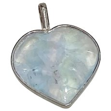 Natural Aquamarine Heart Vintage Charm Sterling Silver