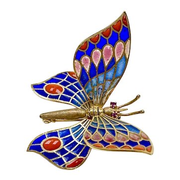 Colorful Articulated Butterfly Brooch 18K Gold Plique-à-jour & Ruby, Spain