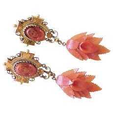 Victorian Era Dangle Earrings Gold Filled / Rolled Gold Carved Red Coral