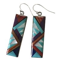 Native American Colorful Intarsia Inlay Long Dangle Earrings Sterling Silver