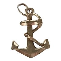 Rope Fouled Anchor Vintage Nautical Charm 14K Gold Three-Dimensional