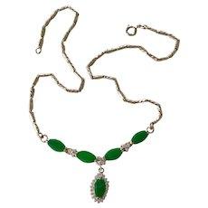 Vintage Emerald Necklace 18K Gold Faux Diamond Accent