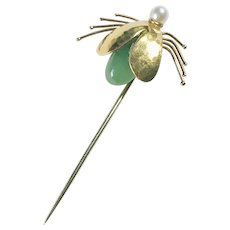 Vintage Insect Stick Pin 18K Gold Jade & Cultured Pearl