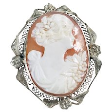 Art Deco Era Cameo Pendant / Brooch 14K White Gold