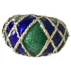 Big 18K Gold Domed Ring Cobalt Blue & Green Enamel