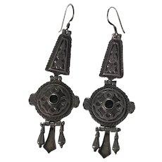 Etruscan Revival Vintage Long Dangle Earrings Sterling Silver & Onyx