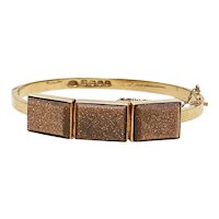Victorian Era Goldstone Bangle Bracelet 18K Gold