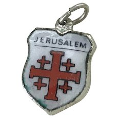 Jerusalem Vintage Charm Colorful Glass Enamel Sterling Silver