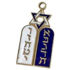 Jewish Vintage Charm Tablet & Star of David 14K Gold Enamel Accent