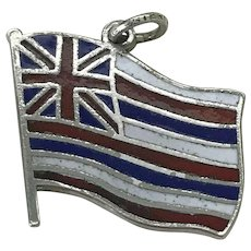 Flag of Hawaii Vintage Charm Colorful Enamel Sterling Silver