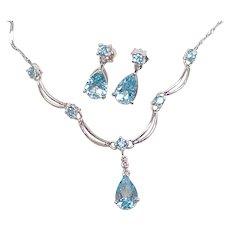 Blue Topaz Necklace & Earring Set 10K White Gold Diamond Accent