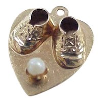 Vintage 14k Baby Charm, Baby Shoes on Heart with Cultured Pearl Accent circa 1958's