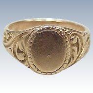 Edwardian Baby Signet Ring 10K Rose Gold, No Monogram