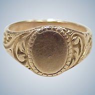 Edwardian Baby Signet Ring 10K Rose Gold, No Monogram