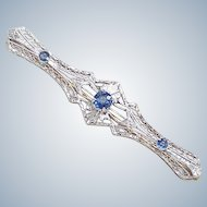 Edwardian Filigree Bar Pin Platinum Top Faux Sapphire on 14k Gold