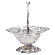 Vintage Sterling Silver Footed Basket With Hinged Handle