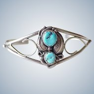 Vintage Navajo Crafted Cuff Bracelet circa 1970's Sterling Silver & Turquoise, Jerome Begay