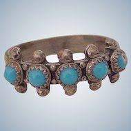Native American Crafted Ring Sterling Silver & Turquoise circa 1970's Bell Trading Post