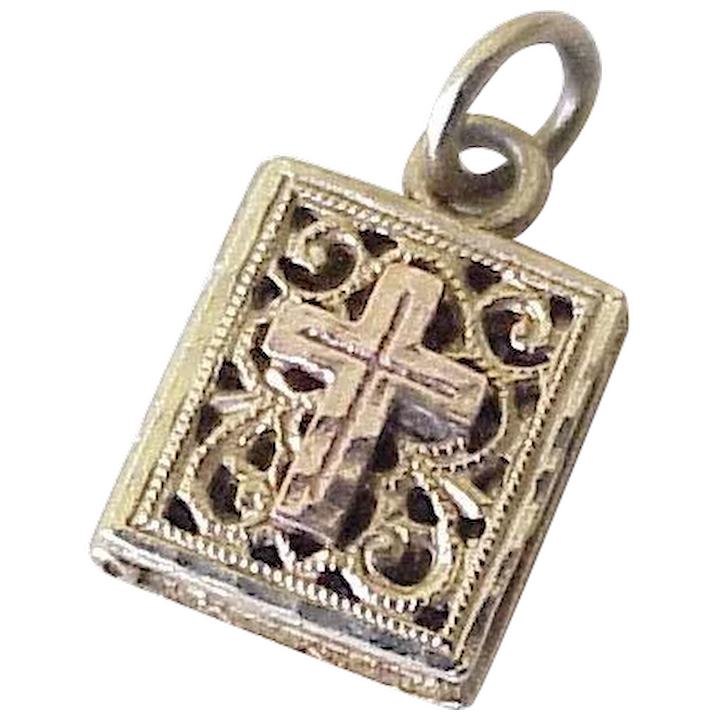 dba0427ae387f Vintage Bible Charm 14K Gold Yellow & Rose, OPENS - Praise the Lord