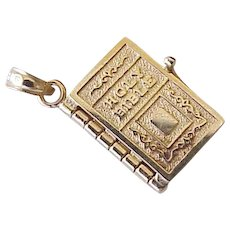 Vintage Moving Bible Charm With The Lords Prayer 14k Gold