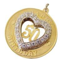BIG Vintage 50th Birthday Charm 14k Gold Faux Diamond circa 1969